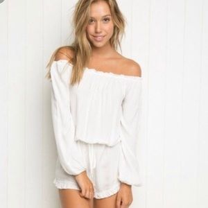 Brandy Melville White Romper with Ruffles